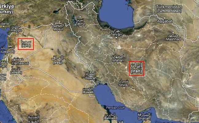 map middle east syria iran