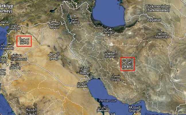 iran syria google maps
