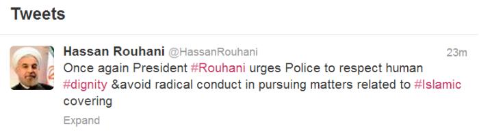 Iran's President Rouhani asks police restraint on Twitter