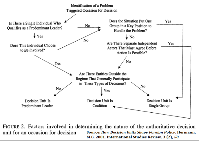 Factors which determine the nature of the decision unit